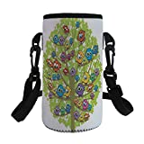 Small Water Bottle Sleeve Neoprene Bottle Cover,Funny,Cartoon Group of Fun Colorful Canary Bird Family on Oak Branches Animal Illustration,Multicolor,Great for Stainless Steel and Plastic/Glass Bottle