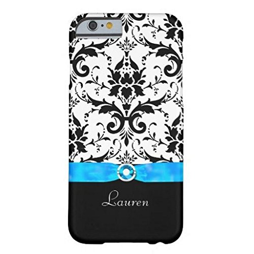Black Damask Turquoise Jewel Personalized IPhone 6/6s Plus Case Fashion Cover