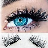 Magnetic Eyelashes 3D Reusable Magnetic False Eyelashes,Fake Lashes Ultra Thin 2 Pairs 4 Pieces Natural Look Magnetic Cosplay Fake EyeLashes for Women