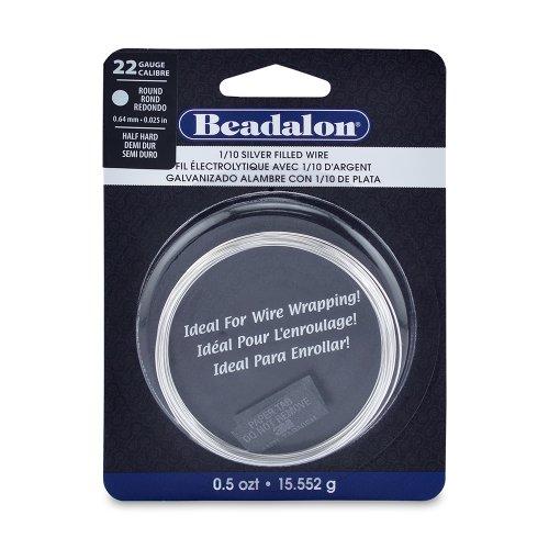 - Beadalon 22-Guage Half Hard Silver Filled CDA220 1/10 Jewelry Wire, Round, 0.5 Troy Ounce