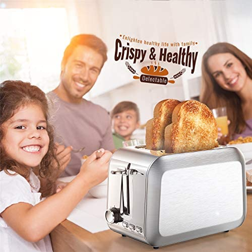 Toaster 2 Slice Stainless 2 Slice Toaster Best Rated Prime Wide Slot Toaster with Removable Crumb Tray 7 Bread Shade Settings, Bagel, Defrost, Cancel Function