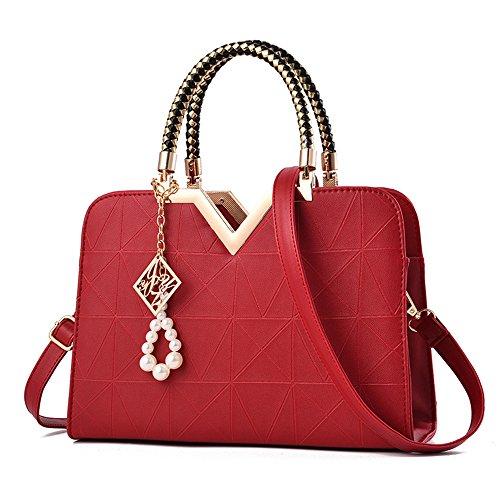 Clutches Satchel Handbag Handbags Handles Bag Totes Red Handbag bags Tibes Shoulder Wine wtTqZz