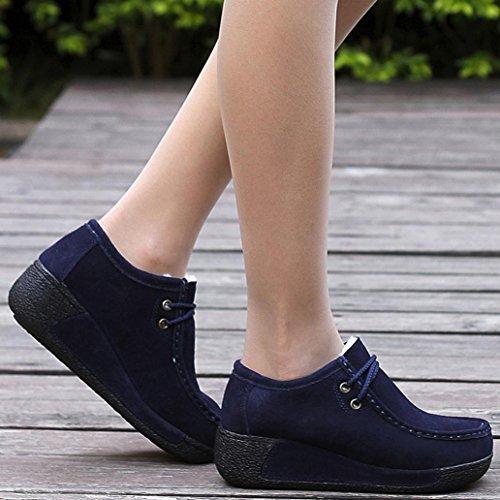 Warme Laarzen Binmer (tm) Dames Casual Winter Warme Schoenen Leren Veterschoenen Plateau-schoenen Blauw