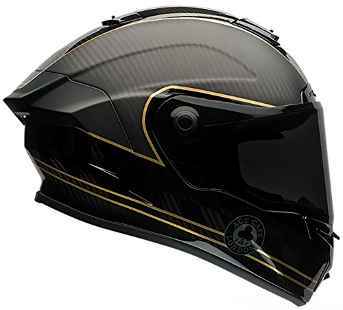 Bell Race Star Full-Face Motorcycle Helmet (Ace Cafe Speed Check Matte Black/Gold, (Evolution Race Gloves)