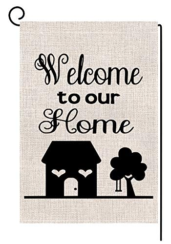 BLKWHT Welcome to Our Home Garden Flag Vertical Double Sided 12.5 x 18 Inch Home Sweet Home Yard Decor