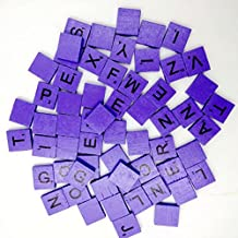 100 Wooden Scrabble Tiles Black Letters Numbers For Crafts Wood Alphabets ,By Gbell (Purple)