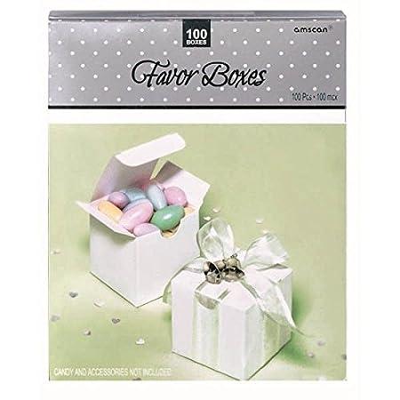 White Wedding Favor Boxes 100ct Amscan 340325