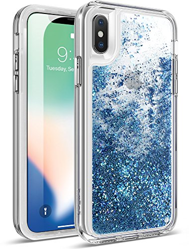 iPhone Xs Glitter Case, iPhone X Glitter Case, Poetic Cascade [Scratch Resistant Back] [Built-in Screen Protector] Flowing Liquid Case for Apple iPhone X (2017) /iPhone Xs (2018) - Teal