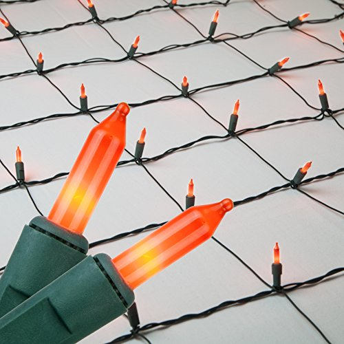 Net Lights Christmas Clear Net Christmas Lights Outdoor Net, Outdoor Warm Christmas Lights / Outdoor Decorative Lights Christmas Net Lights on Green Wire (4'x 6' net, 150 Lights, Orange)]()