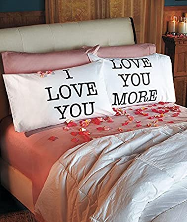 Amazon.com: Love You & Love You More Pillowcases: V-day Gift: Home ...