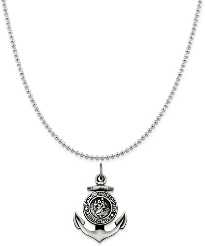 Antiqued St Christopher Anchor Medal Charm Pendant 925 Sterling Silver