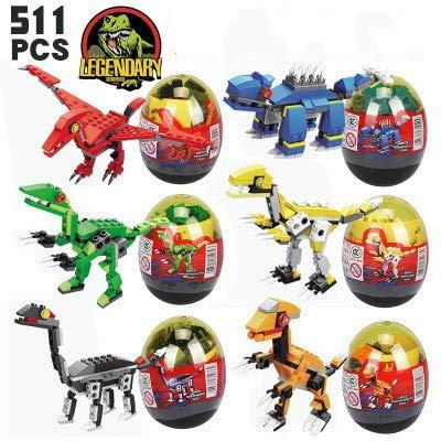 WIDON Dinosaur Building Blocks, 6 PCS in Easter Eggs Developmental Toys Gifts for Kids Boys Girls Easter Basket Stuffers Fillers