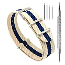 CIVO Watch Bands NATO Premium Ballistic Nylon Watch Strap Stainless Steel Buckle 18mm 20mm 22mm with Top Spring Bar Tool and 4 Spring Bars Bonus (Linen/Navy, 20mm)