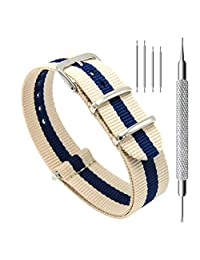 CIVO Watch Bands NATO Premium Ballistic Nylon Watch Strap Stainless Steel Buckle 18mm 20mm 22mm with Top Spring Bar Tool and 4 Spring Bars Bonus (Linen/Navy, 22mm)