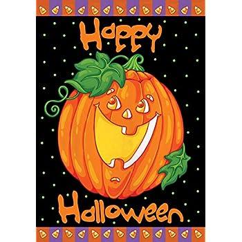 Toland   Happy Halloween   Decorative Pumpkin Holiday Jack O Lantern  USA Produced Garden Flag