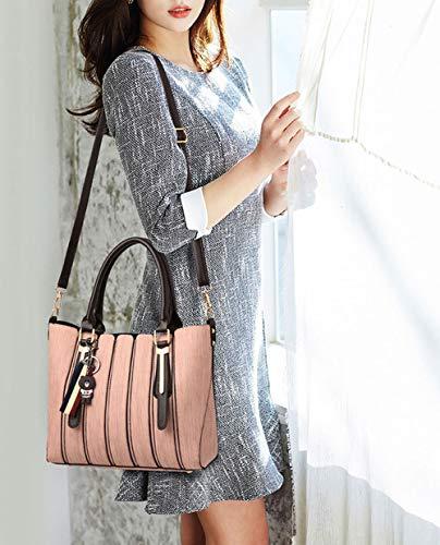 y Mujer hombro clutches Shoppers Carteras de Bolsos de bolsos mano bandolera Rosa y 4I4Fqwrcx5