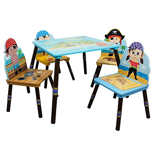 (Fantasy Fields - Pirate Island Thematic Hand Crafted Kids Wooden Table and 2 Chairs Set (A) | Imagination Inspiring  Hand Crafted & Hand Painted Details | Non-Toxic, Lead Free Water-based Paint)