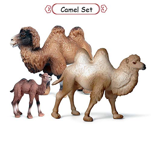 L.DONG Camel Toys Figurines Set, Wild Animal Model Llama Toys for Nature Science Learning, Wildlife Theme Party Supplies Cake Toppers, Family Pack of 3