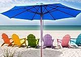 Cheap New 13′ FT Outdoor Patio Market Wooden Wood Umbrella Yard Beach Shade Blue