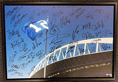 "Seattle Seahawks Super Bowl XLVIII Champion Autographed Framed 20x30 Canvas Photo""SB XLVIII Champs!"" With 42 Signatures Including Russell Wilson & Marshawn Lynch #/112 MCS Holo Stock #94470"