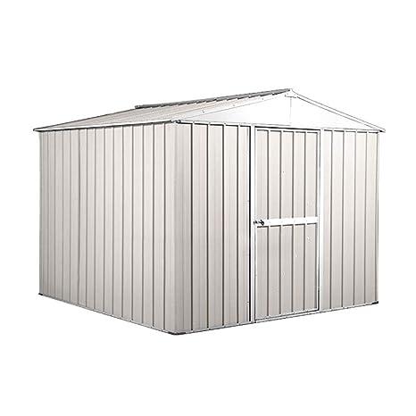 Casita Box de jardín de chapa blanca para deposito Herramientas 276 x 260 x 212 cm