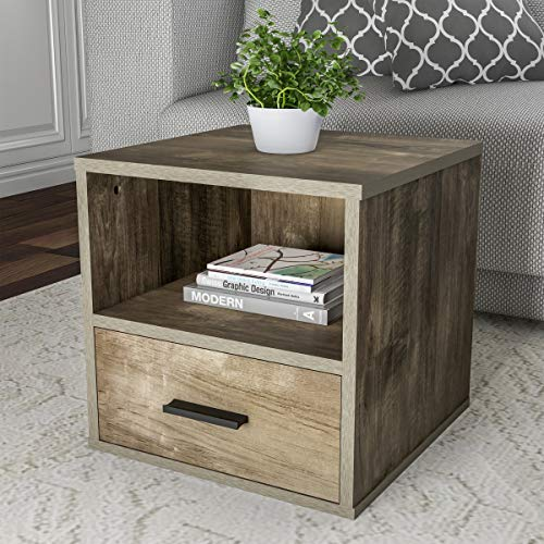 Lavish Home 80-MOD-9 End Stackable Contemporary Minimalist Modular Cube Accent Table with Drawer for Bedroom, Living Room or Office (Gray),