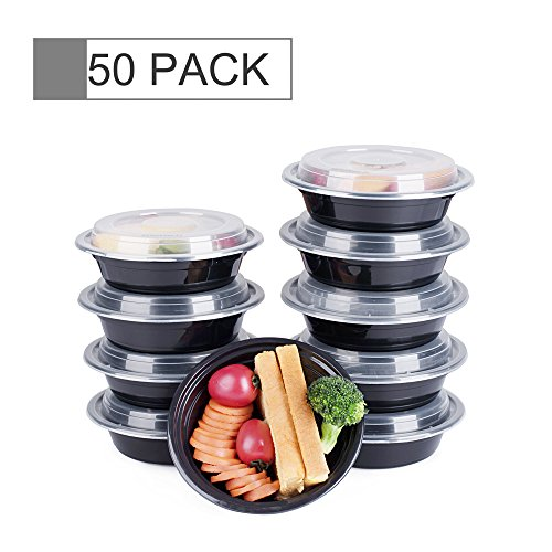 Price comparison product image Glotoch Bento Box,  16 Ounce Wholesale 1 Compartment Food Storage Containers for Meal Prep-Microwave,  Freezer & Dishwasher Safe - Eco Friendly Safe Food Container,  Pack of 50