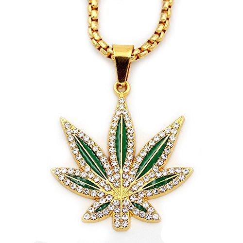 - MCSAYS Mens Fashion Hip Hop Weed Hemp leaves Marijuana Leaf Pendant Necklace Gifts