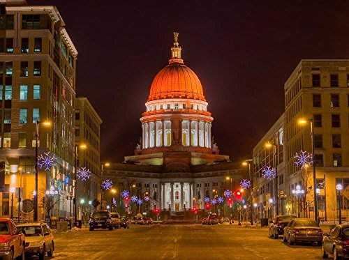 Capitol, Madison, Wisconsin Lit Up For Breast Cancer Awareness 10x8 Color Photograph