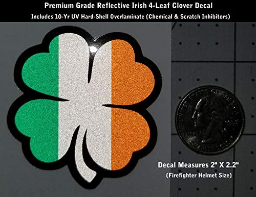 High Performance Vinyl Graphics LLC Reflective Irish 4 Leaf Clover Shamrock Decal IAFF Firefighter Helmet 2