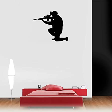 jiuyaomai Armée Forces Homme Adulte Pistolet Stickers Muraux ...
