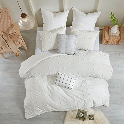Urban Habitat Brooklyn Teen Girls Duvet Cover Set Full/Queen Size - Ivory, Tufted Cotton Chenille Dots – 7 Piece Duvet Covers Bedding Sets – 100% Cotton Jacquard Girls Bedding Bed ()