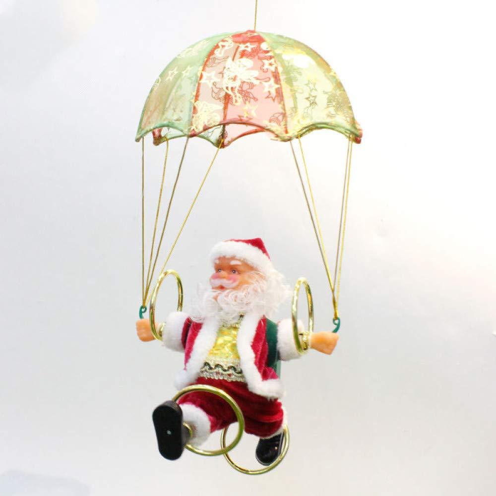 Juler 2pcs Decorazioni di Natale Decorazione di Natale novità Albero di Natale Elettrico Babbo Natale Ciondolo Natale Peluche Bambola Giocattolo Creativo Ornamento,Rosso,Taglia Unica