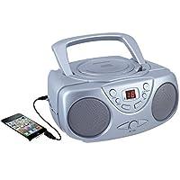 Sylvania SRCD243 Reproductor de CD portátil con radio AM /FM, Boombox (Plata)