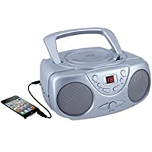Curtis SRCD243M-SILVER Sylvania SRCD243 Portable CD Player with AM/FM Radio, Boombox (Silver)