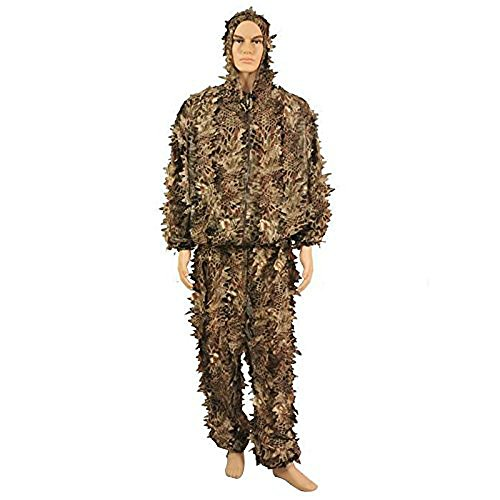 Ghillie Suit For Sale Cheap (Isafish Ghillie Suits Hunting Camouflage 3D Hooded Jungle Snakeskin Leaves Hunting Sniper Cloak Military Clothing for Shooting Airsoft Wildlife Photography or Halloween)