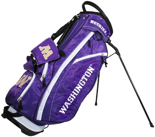 Team Golf NCAA Washington Huskies Fairway Golf Stand Bag, Lightweight, 14-way Top, Spring Action Stand, Insulated Cooler Pocket, Padded Strap, Umbrella Holder & Removable Rain Hood