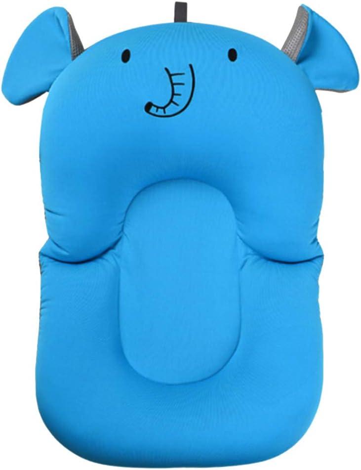 UNAOIWN - Cojín de baño para recién nacido con almohadilla antideslizante para bañera azul Azul, Elefante