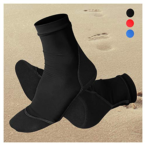 NeopSkin Beach Socks UV Sun Protection Lycra Sand Skin Water Booties Neoprene Fin Socks for Beach Volleyball Tennis Sand Soccer Surfing Rafting Snorkeling Diving Swimming (Black, M)
