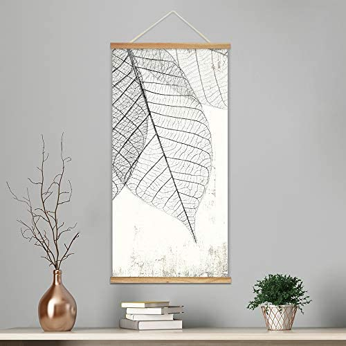Hanging Poster with Wood Frames Veins of Dried Leaves Decorative