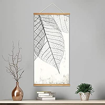 Hanging Poster with Wood Frames - Veins of Dried Leaves - Ready to Hang Decorative Wall Art - 18