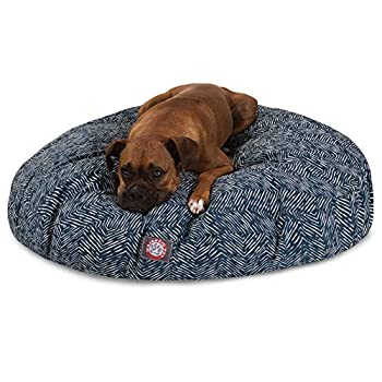 Image of Majestic Pet Navy Blue Native Large Round Indoor Outdoor Pet Dog Bed with Removable Washable Cover Products Pet Supplies