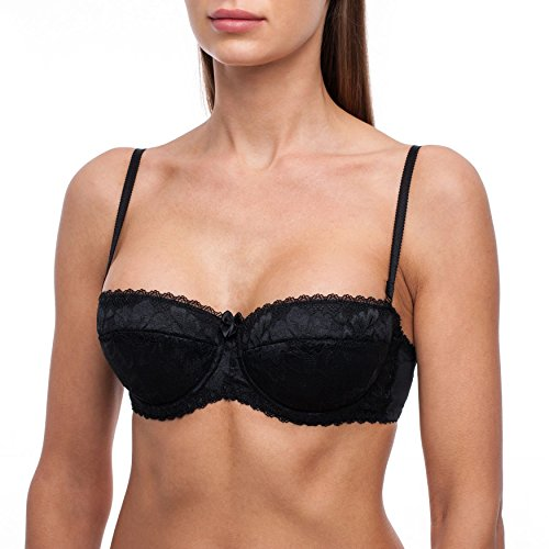 frugue Women's Strapless Pushup Bandeau Lace Sexy Bra Black 32 DD