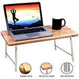 Wudore Solid Wood Foldable Bed Laptop Table with Steel Legs - Best Portable Laptop Table (Natural Wood Finish)