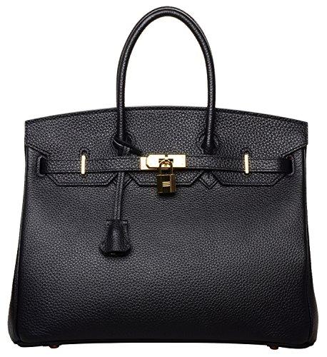 Cherish Kiss Womens Classic Genuine Leather Tote Padlock Handbags  30Cm  Black With Hotpink Lining