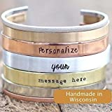 IF - Personalized Cuff Bracelet in Silver, Bronze, Nickel, Gold, or Copper, 5-8'' Long