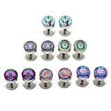 fake plugs for girls - PiercingJ 12pcs 16G Stainless Steel Stud Barbell Earrings Fake Cheater Illusion Plug Gauge 0G Look