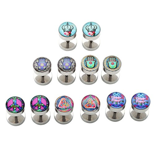 PiercingJ 12pcs 16G Stainless Steel Stud Barbell Earrings Fake Cheater Illusion Plug Gauge 0G Look