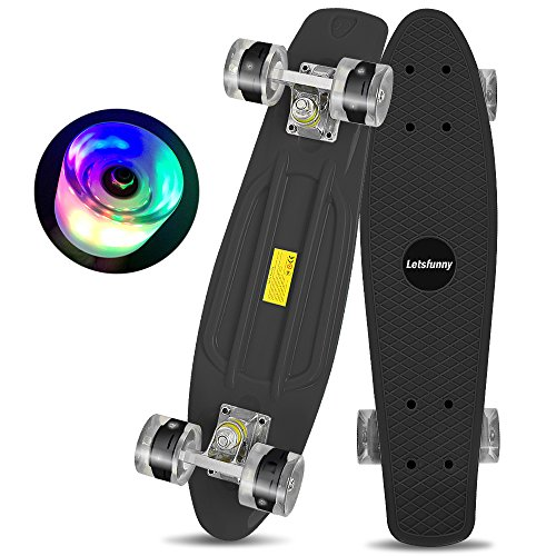 Letsfunny Skateboard 22 Inch with Colorful Light Up Wheels Banana Board Complete Skateboard for Kids Boys Girls Youths Beginners (Black)
