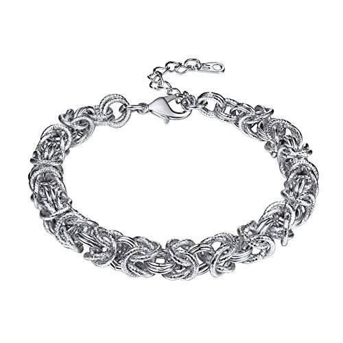 U7 Chain Bracelet Stainless Steel Double Oval Interlocking Link Byzantine Bracelets for Men and Women,7 Inches and 2 Inches Extension Chain